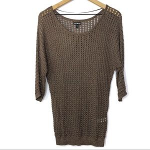 Express Open Stitch Metallic 3/4 Sleeve Sweater
